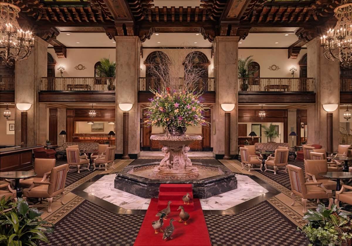 Peabody Hotel Ducks in the hotel foyer, © Trey Clark for The Peabody Hotel